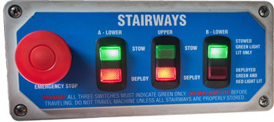 Folding stairway controls